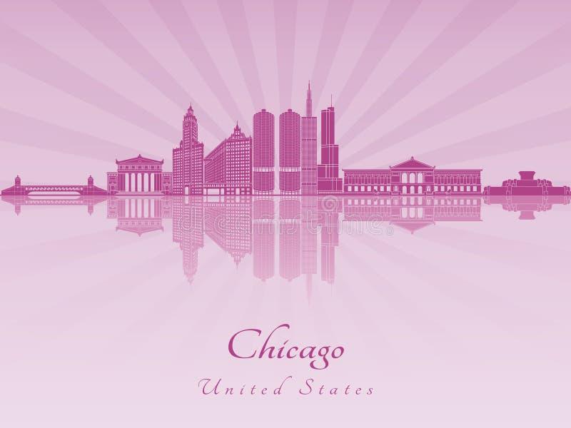 Chicago-Skyline in der purpurroten leuchtenden Orchidee stock abbildung