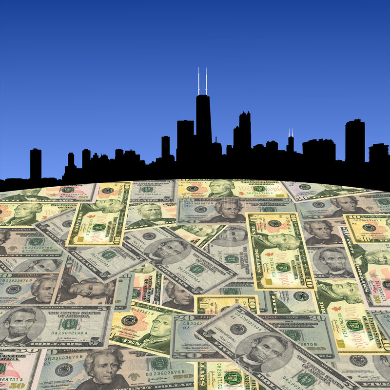 Chicago skyline with dollars vector illustration