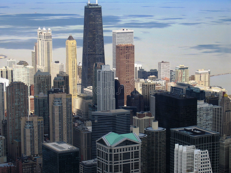 Chicago skyline downtown stock photo