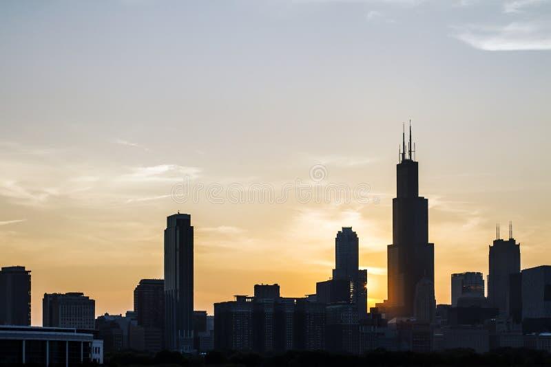 Chicago skyline at dusk royalty free stock photos