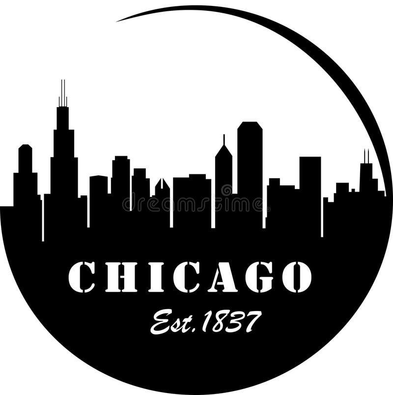 Chicago Skyline. Est.1837 sign stock illustration