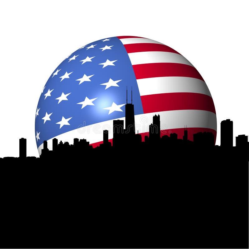 Chicago-Skyline-Flaggekugel vektor abbildung
