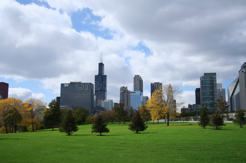 Chicago skyline Grant park royalty free stock photography