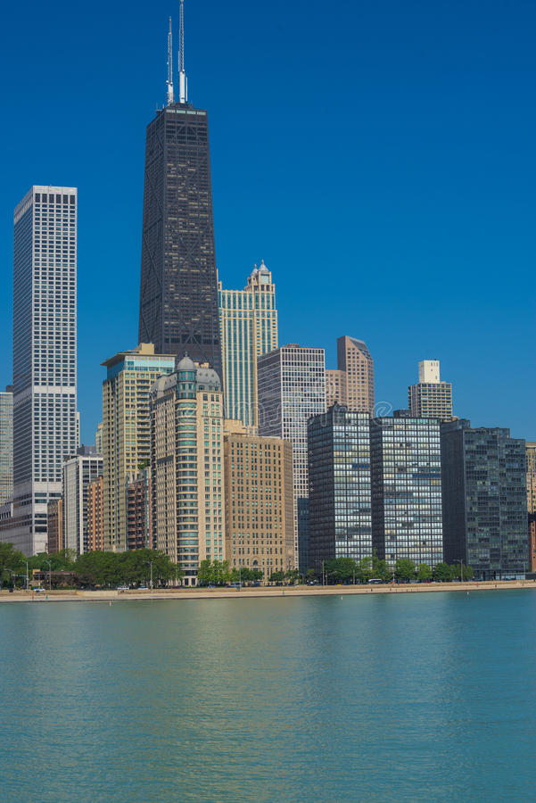 Chicago Skyline from the Milton Lee Olive Park. View of the Northern Chicago Skyline (Magnificent Mile and Goald Coast) from the Milton Lee Olive Park royalty free stock image