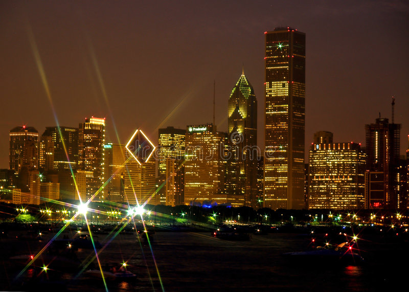 Chicago-Skyline mit Lichteffekt des Sternes stockfotografie