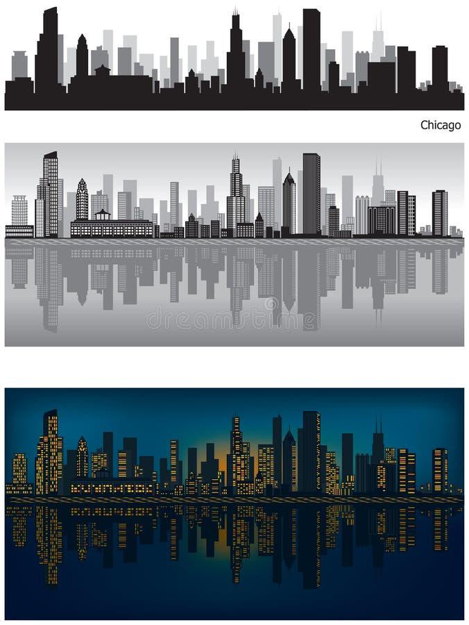 Chicago-Skyline mit Reflexion im Wasser stock abbildung