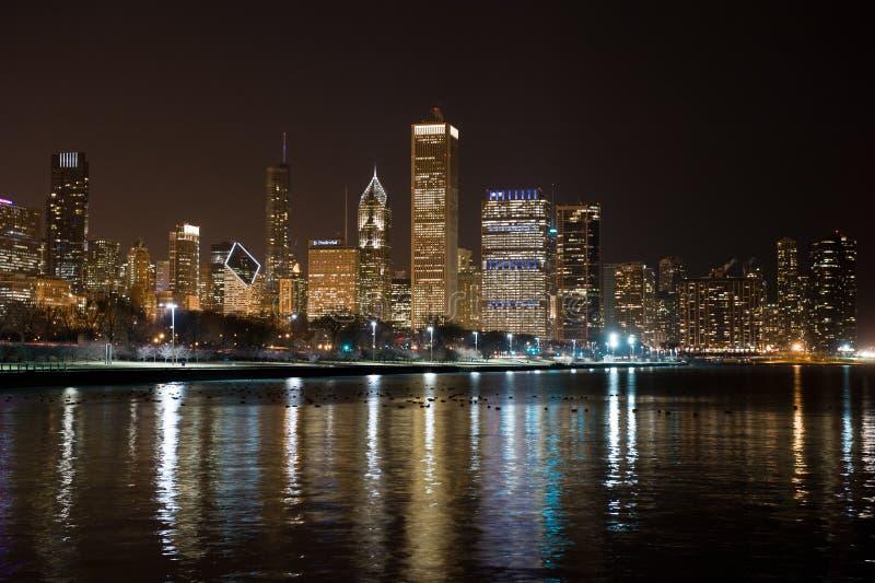 Chicago-Skyline nachts stockfoto
