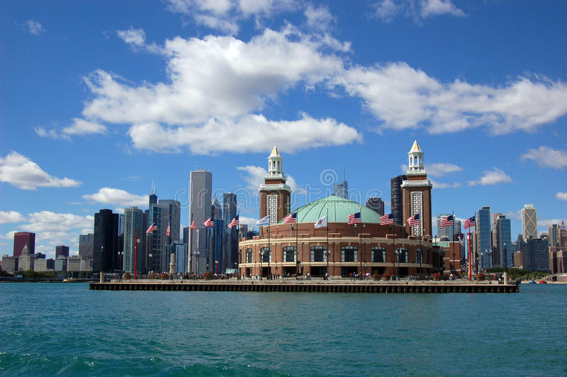 Chicago skyline with Navy Pier stock image