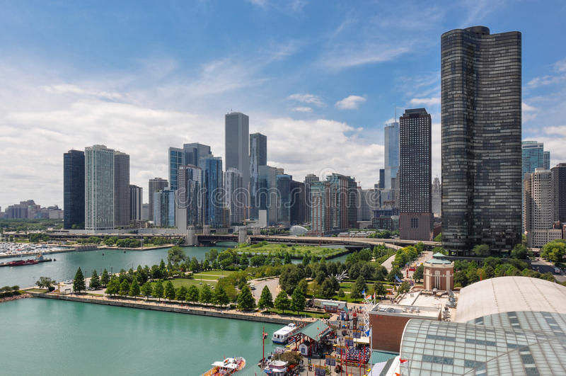 Chicago skyline from Navy Pier, Illinois, USA stock photography
