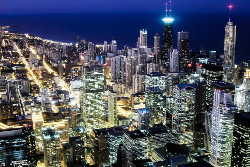 Chicago Skyline at night royalty free stock photos
