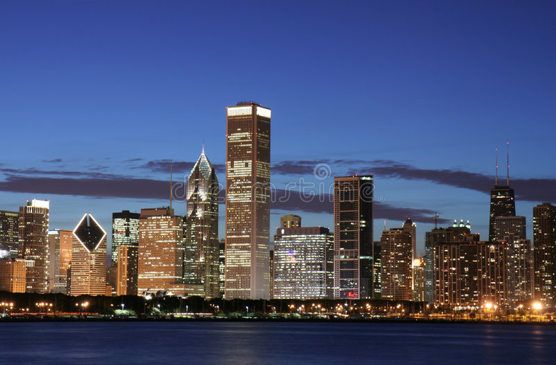 Download Chicago skyline at night stock photo. Image of financial - 2837430