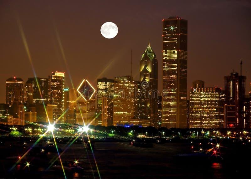 Chicago Skyline at night royalty free stock photo
