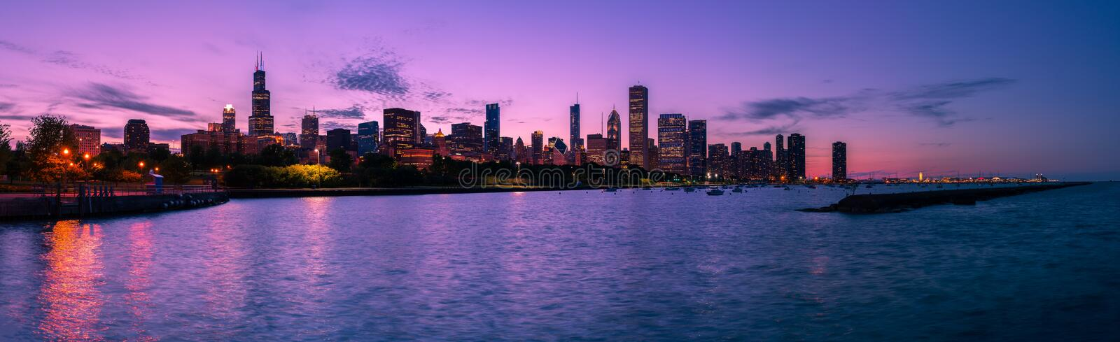 Download Chicago Skyline at Night stock photo. Image of sunset - 39502750