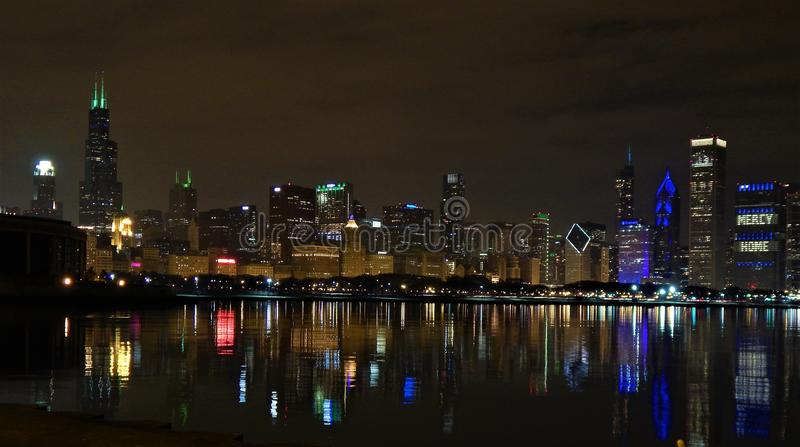 Chicago Skyline at Night from Skyline Walk stock photography