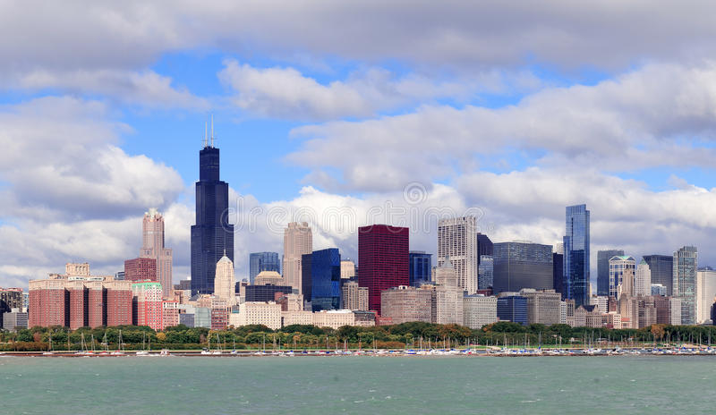 Chicago skyline over Lake Michigan stock images