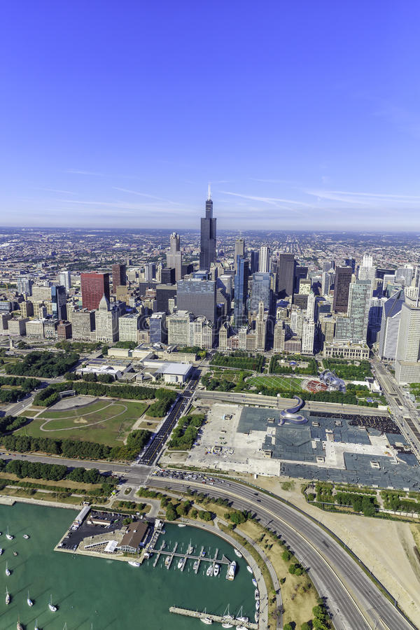 Chicago skyline panorama aerial view stock images