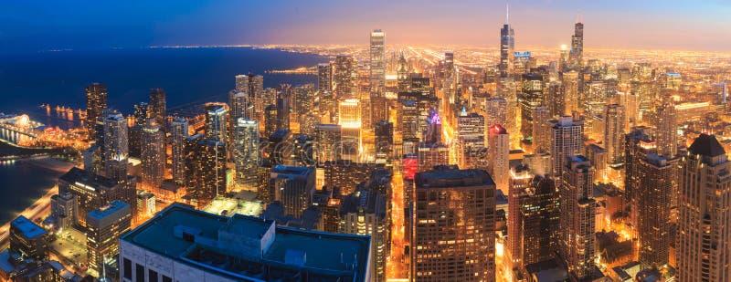 Chicago skyline panorama aerial view stock image