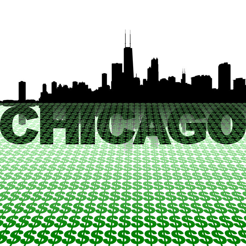Free Chicago Skyline Reflected With Dollar Symbols Royalty Free Stock Photo - 36091725
