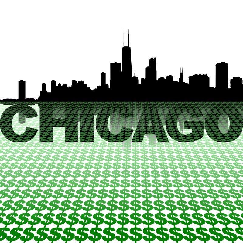 Chicago-Skyline reflektiert mit Dollarsymbolen lizenzfreie abbildung