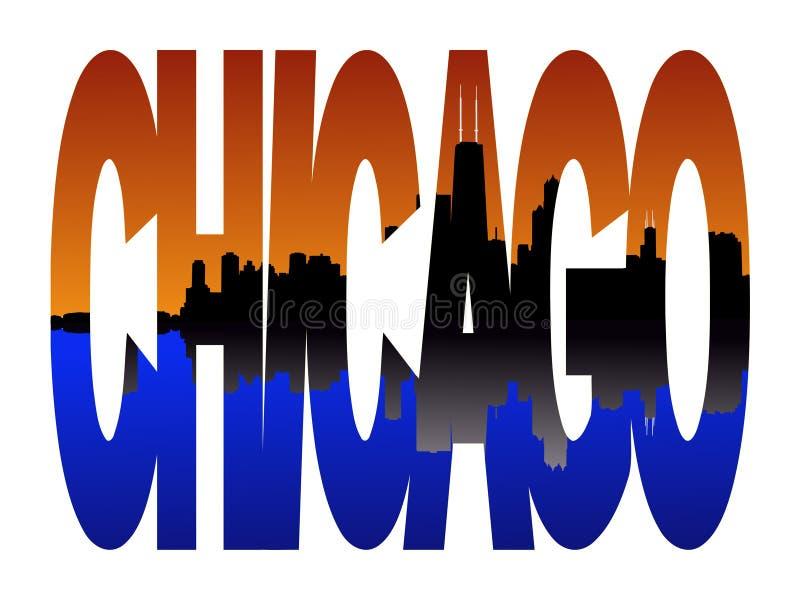 chicago skyline słońca royalty ilustracja