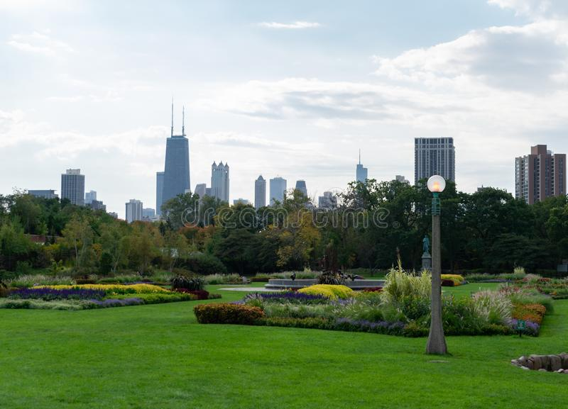 Chicago Skyline seen from a Garden with Plants and Flowers in Lincoln Park Chicago. The Chicago skyline seen from a green garden with plants and flowers in royalty free stock photos