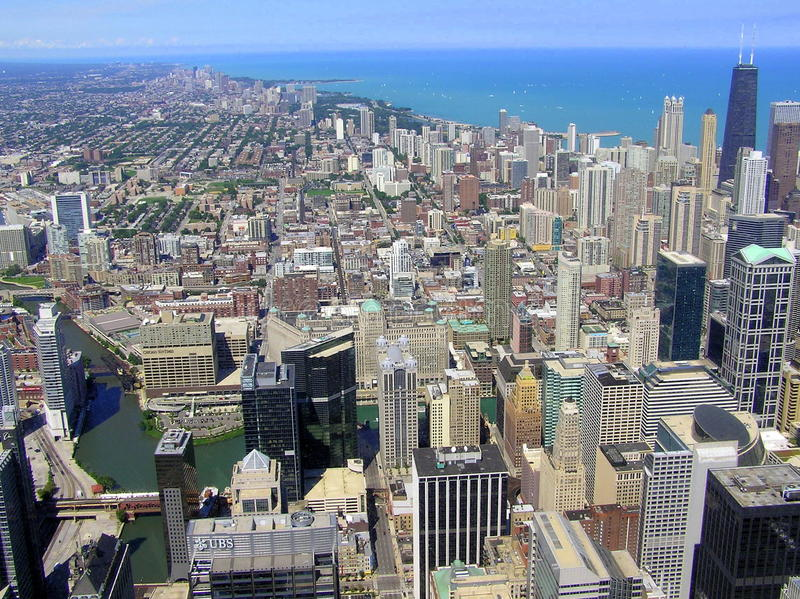 The Chicago skyline seen from Willis Tower royalty free stock image