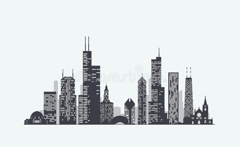 Chicago skyline silhouette royalty free stock images