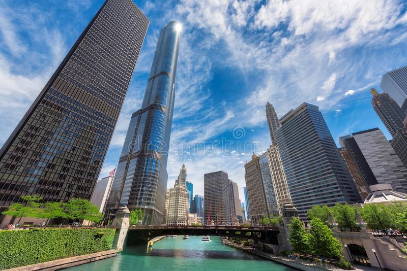 Chicago Skyline, skyscraper and river at sunny day stock photography