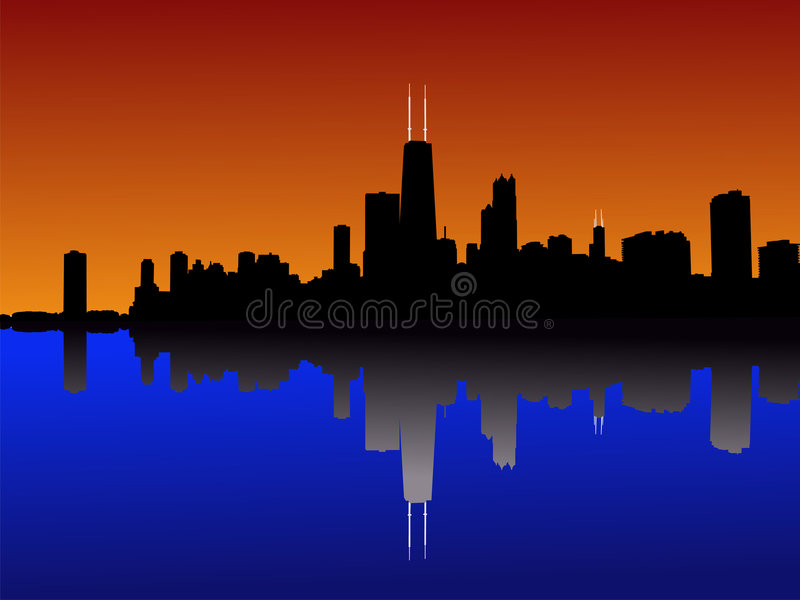 Chicago-Skyline am Sonnenuntergang vektor abbildung