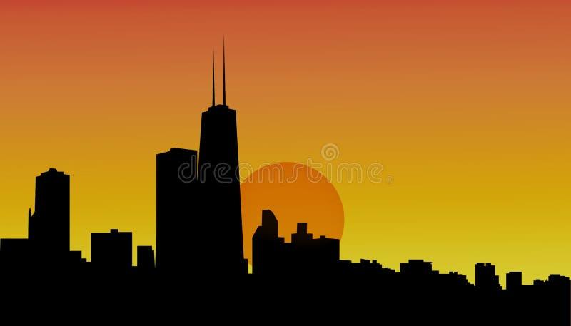 Chicago-Skyline am Sonnenuntergang lizenzfreie abbildung