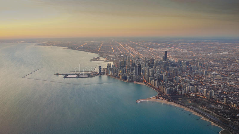 Chicago Skyline Sunrise Aerial stock image
