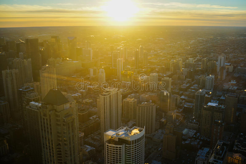 Chicago Skyline Sunrise Aerial royalty free stock images