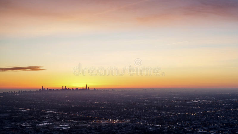 Chicago Skyline Sunrise stock images