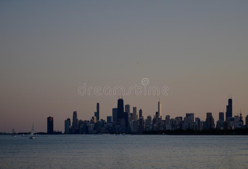 The Chicago Skyline After Sunset stock photo