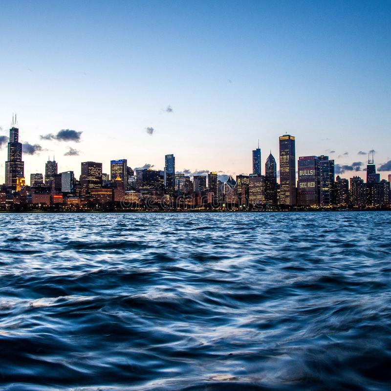 Chicago Skyline. At sunset with long exposure royalty free stock photo