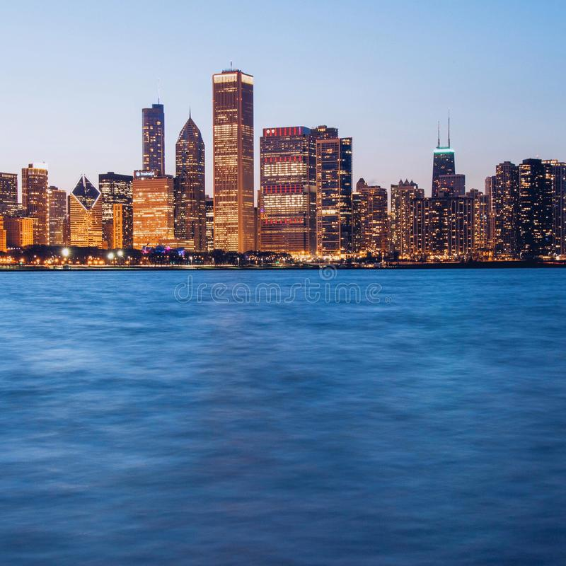 Chicago skyline at sunset. With long exposure royalty free stock photos