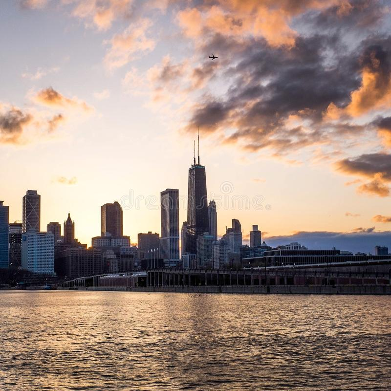 Chicago skyline at sunset. With pier royalty free stock image
