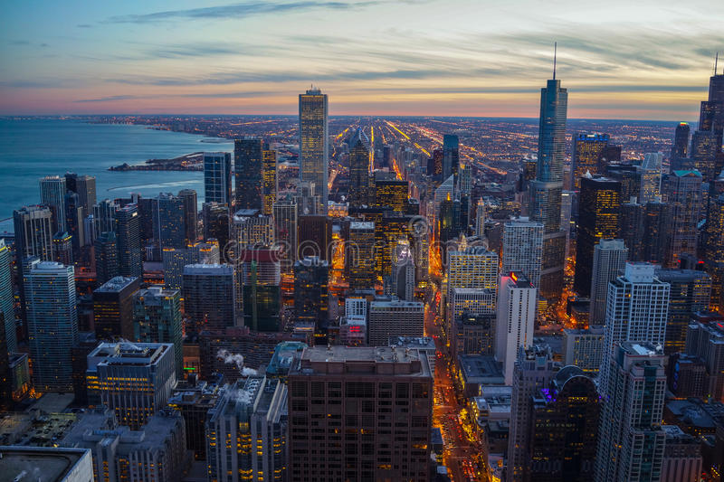 Chicago Skyline Sunset stock photo