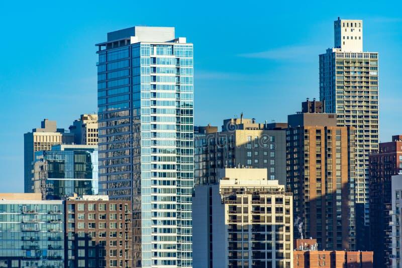Chicago-Skyline-Szene in Gold Coast und alten in den Stadtnachbarschaften stockfoto