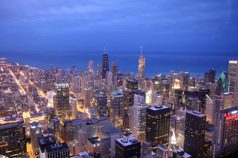 Chicago skyline from the top at dusk stock photography