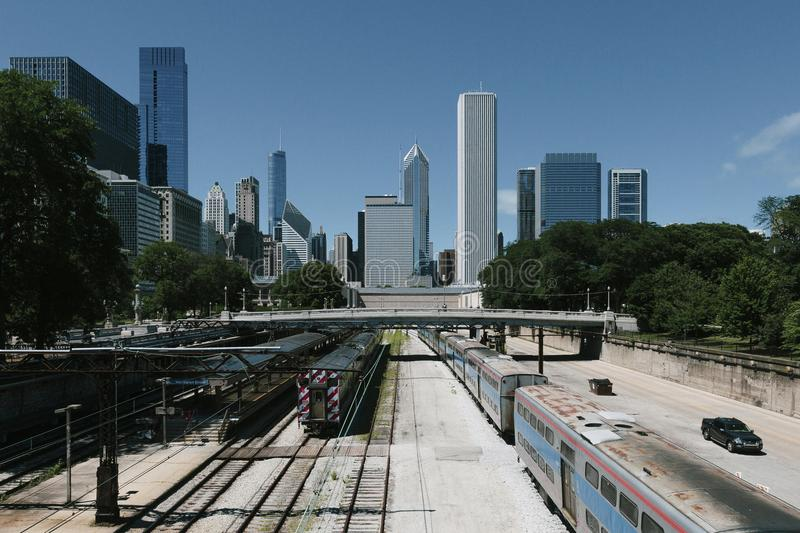 Chicago Skyline and Train Tracks stock photo