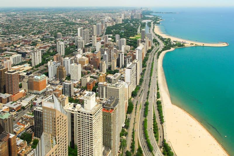 Chicago-Skyline und Gold- Coastansicht stockfotografie