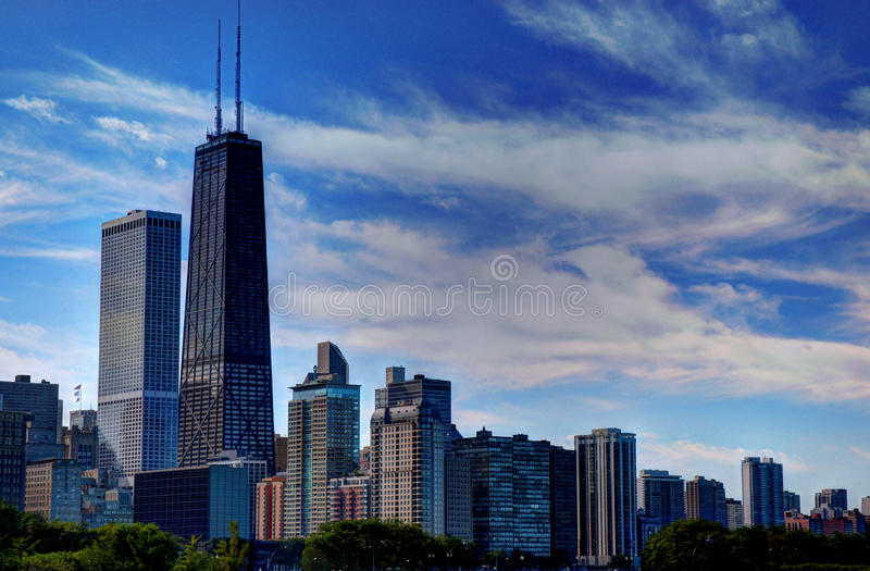 Chicago Skyline V. Color photo of Chicago skyline as seen from navy pier