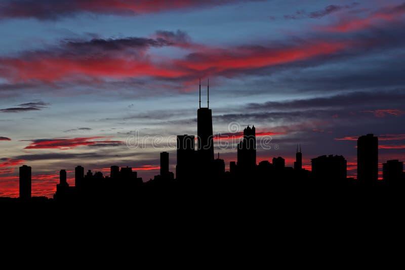 Chicago skyline vid solnedgångsillustration royaltyfria foton