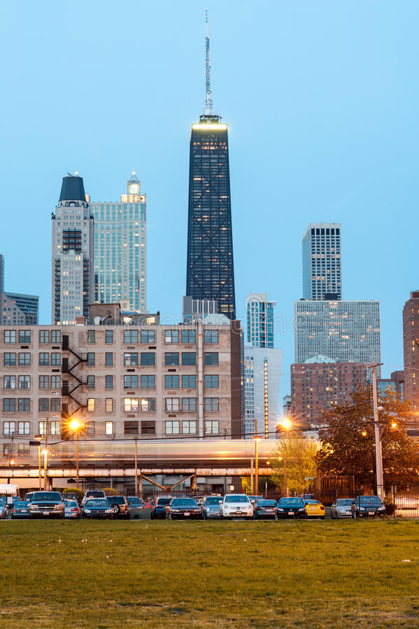 Chicago skyline west view royalty free stock photo