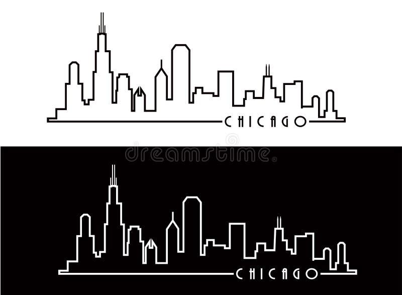 Chicago Skyline. White Line and Black Line vector illustration