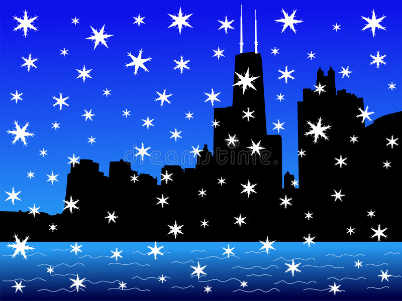 Chicago Skyline in winter stock illustration