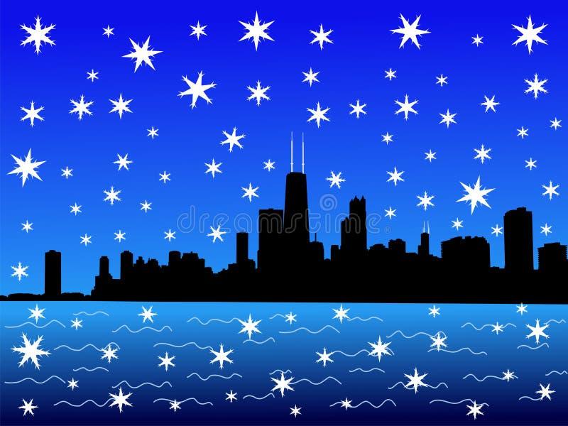 chicago skyline zimy. ilustracja wektor