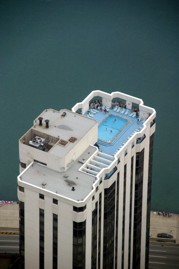 Chicago - Skyscraper Top with Swimming Pool stock photography