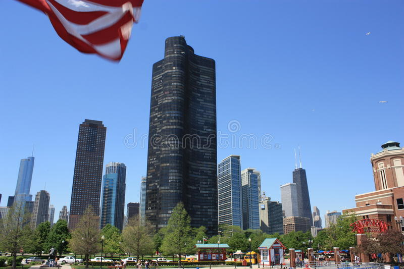 Chicago skyscrapers from the Navy Pier royalty free stock images